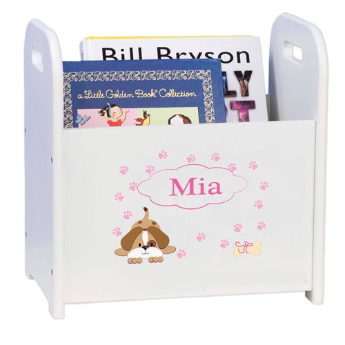 Personalized Pink Puppy White Book Caddy And Rack
