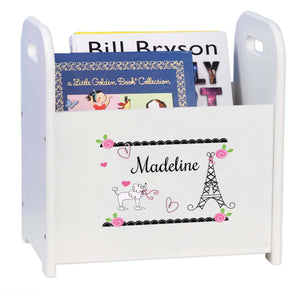 Personalized French Paris White Book Caddy And Rack