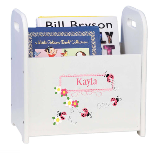 Personalized Child's Book ,storage Magazine Rack Ladybug