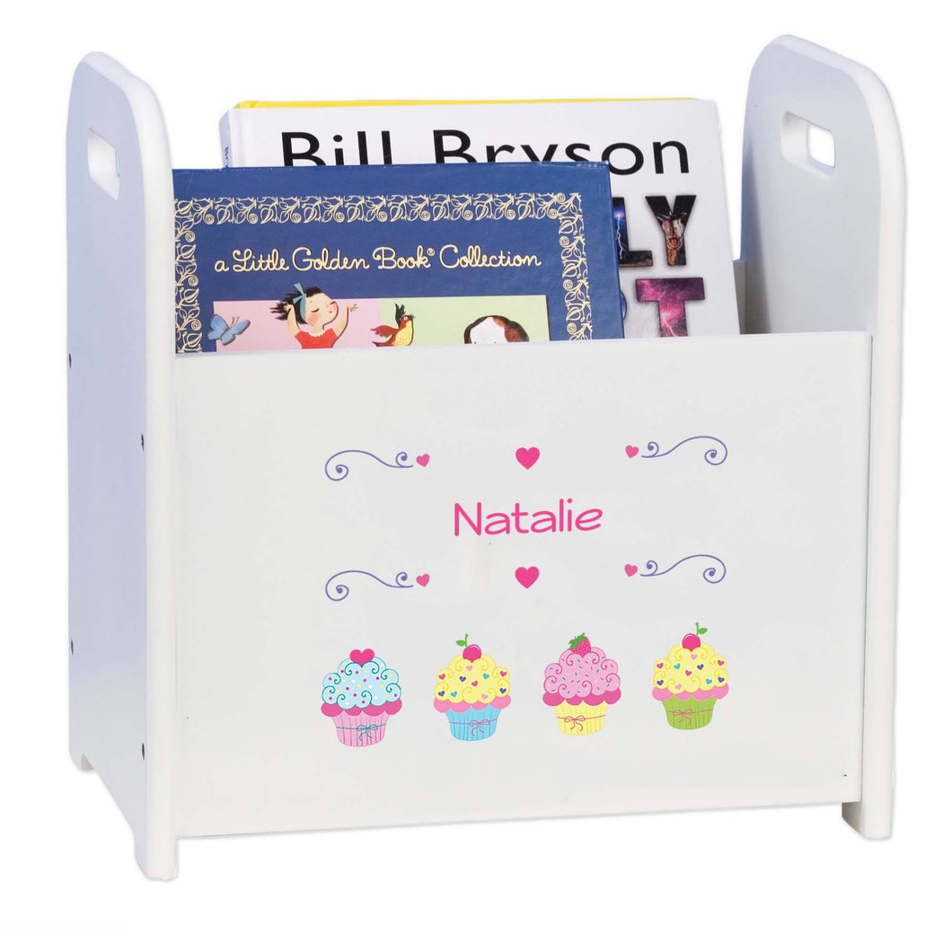 Personalized Cupcake White Book Caddy And Rack