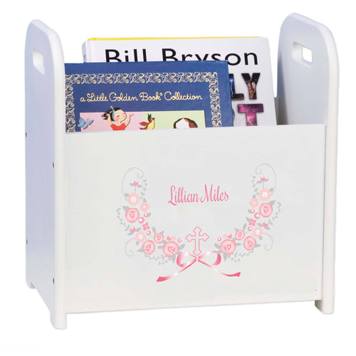 Personalized Holy Cross Pink Gray Floral Garland Design Book Caddy And Holder