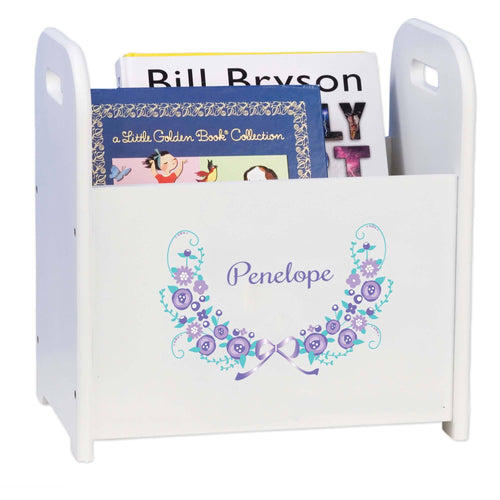Personalized Lavender Floral Garland White Book Caddy And Rack