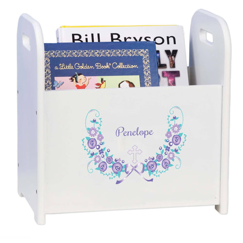 Personalized Holy Cross Lavender Floral Garland Design Book Caddy And Holder
