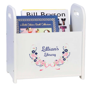 Personalized Navy Pink Floral Garland Book Caddy