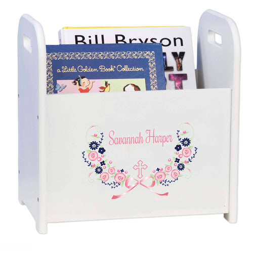 Personalized Holy Cross Navy Pink Floral Garland Design Book Caddy And Holder