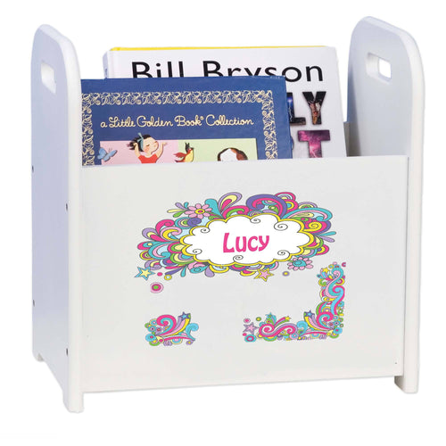 Personalized Groovy Swirl White Book Caddy And Rack