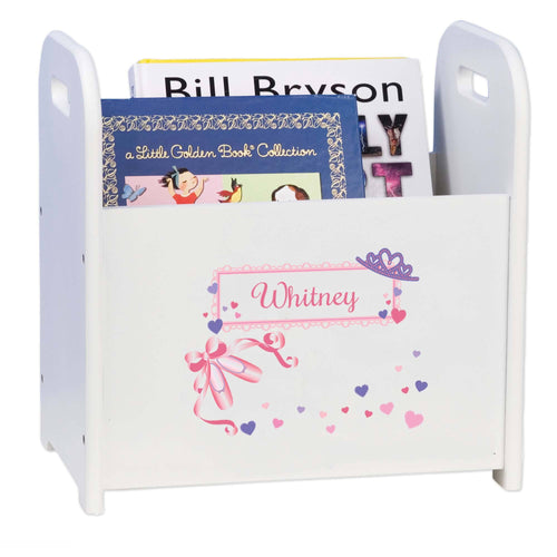 Personalized Ballet Princess White Book Caddy And Rack
