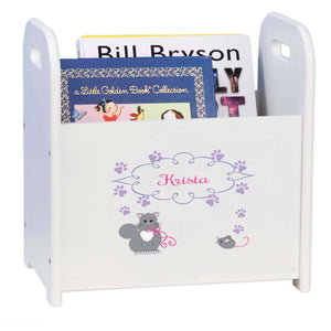 Personalized Kitty Cat White Book Caddy And Rack