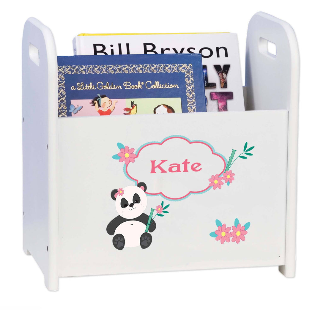 Personalized Panda Bear White Book Caddy And Rack