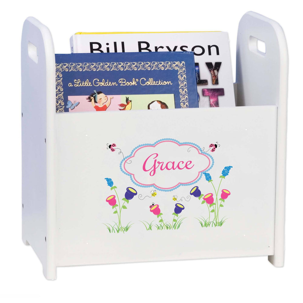 Personalized English Garden White Book Caddy And Rack