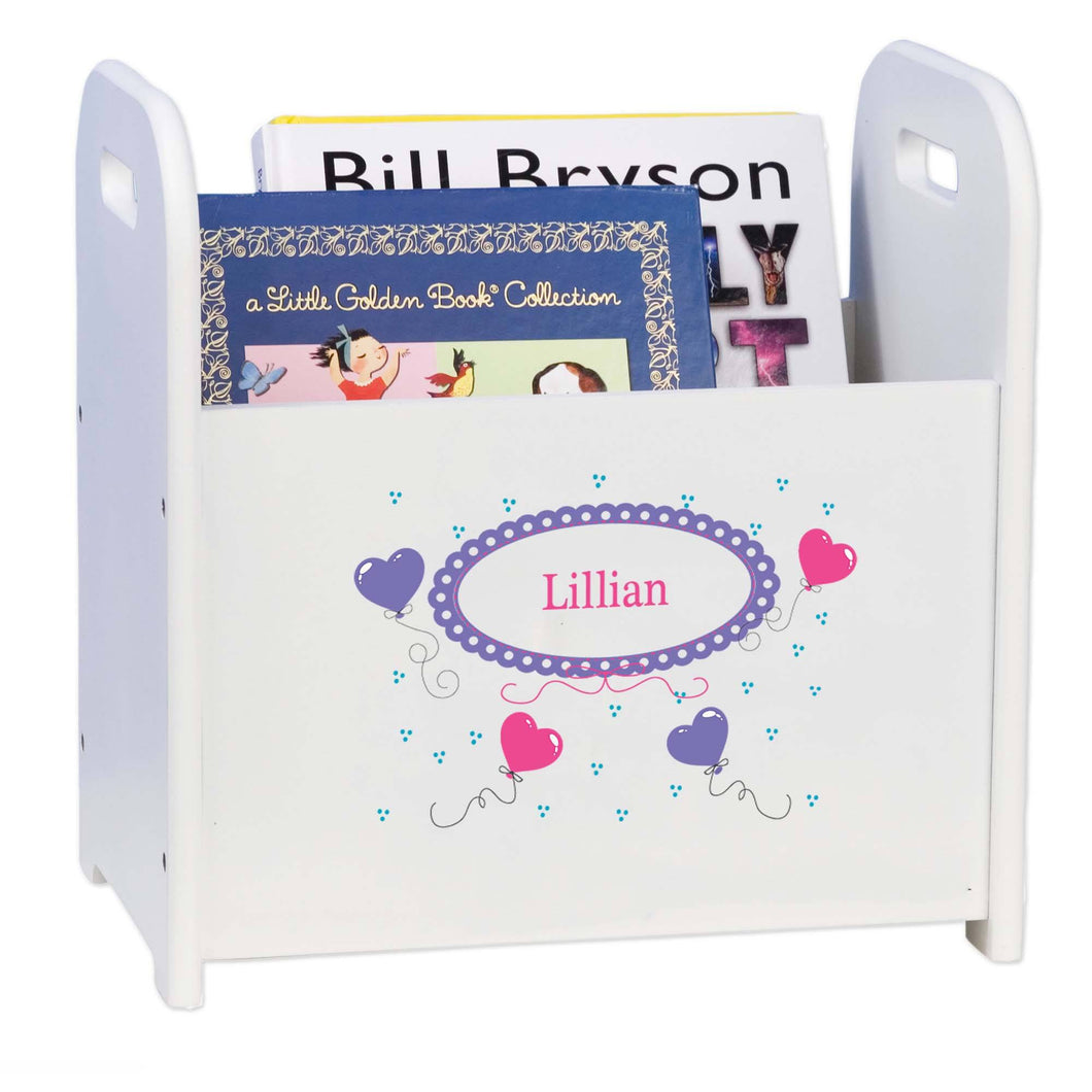 Personalized Heart Balloons White Book Caddy And Rack