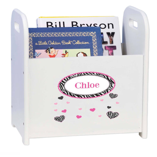 Personalized Groovy Zebra White Book Caddy And Rack