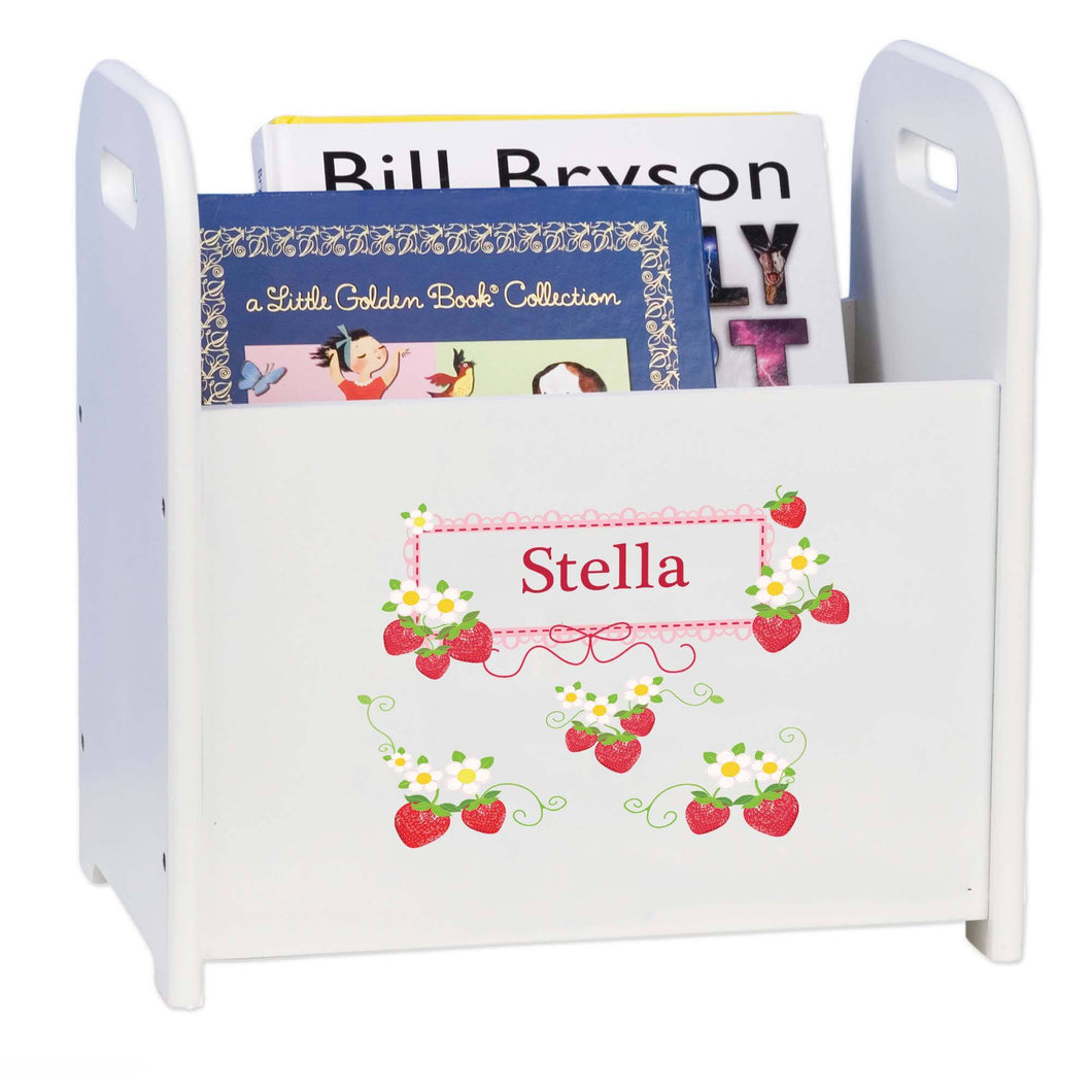 Personalized Strawberries White Book Caddy And Rack