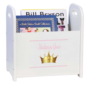 Personalized Pink Princess Crown White Book Caddy And Rack