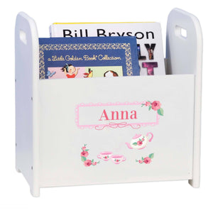 Personalized Tea Party White Book Caddy And Rack
