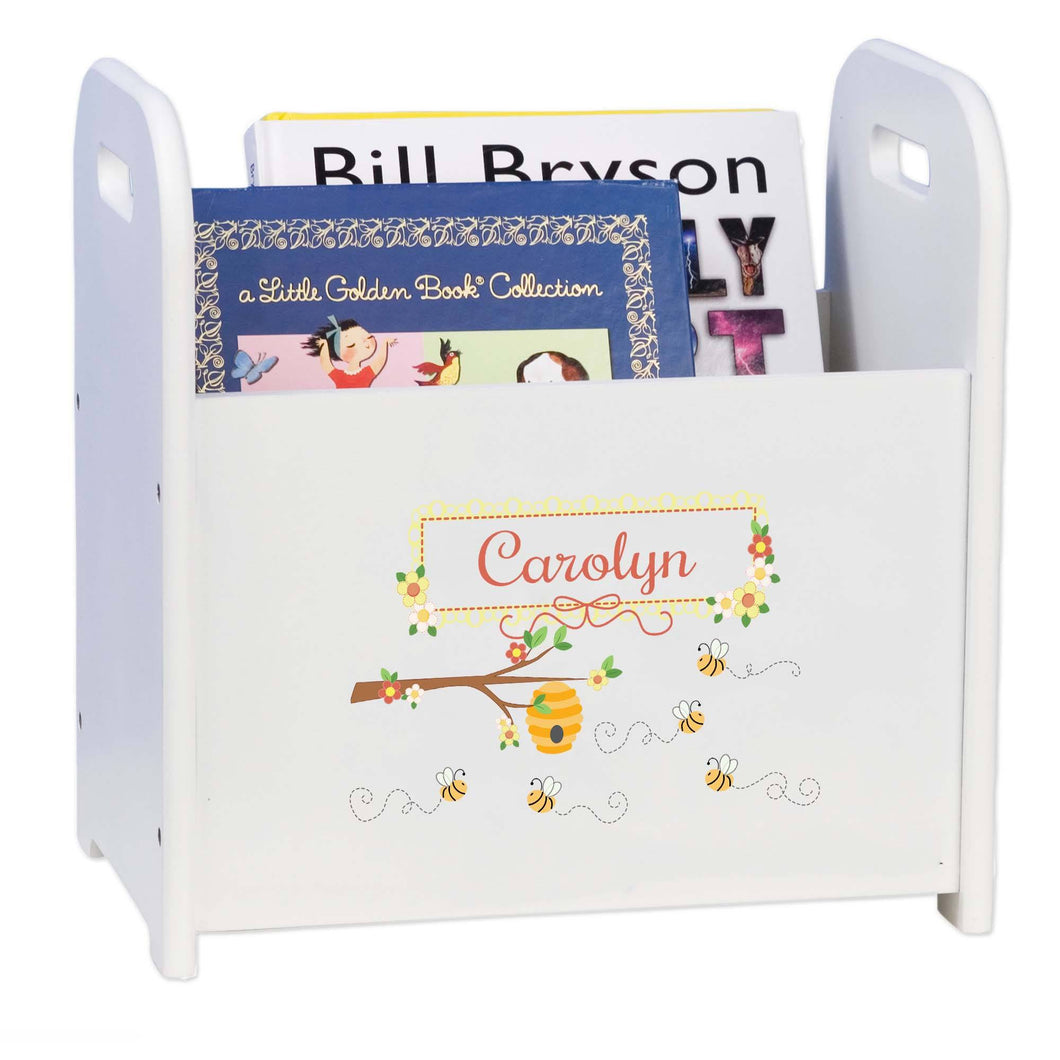 Personalized Book Caddy And ,storage With Honey Bees Design