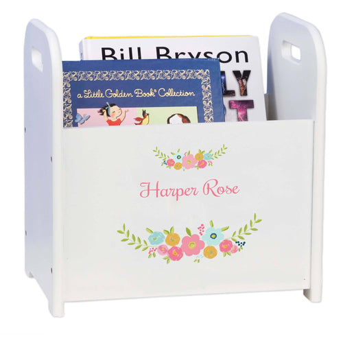 Personalized Spring Floral Book Caddy And Rack