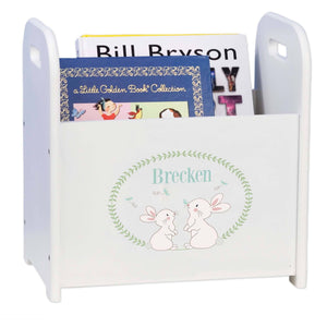 Personalized Classic Bunny Book Caddy And Rack
