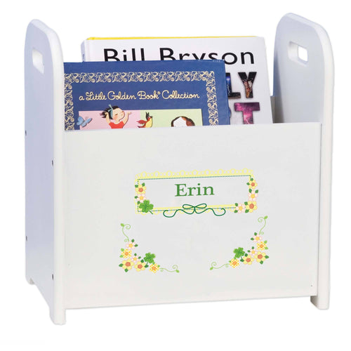 Personalized Shamrock Floral Design Book Caddy And Holder