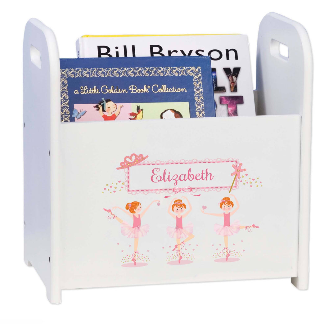 Personalized Ballerina Red Hair Book Caddy And Rack