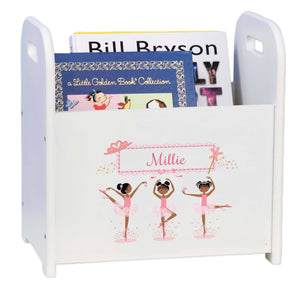Personalized Ballerina African American Book Caddy And Rack
