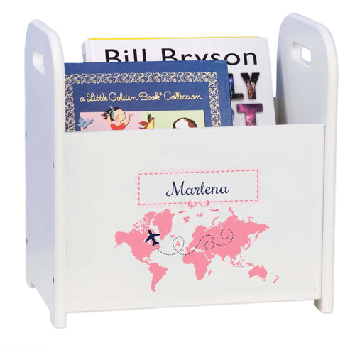 Personalized World Map Pink Book Caddy And Rack