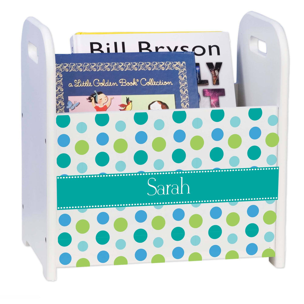Personalized Tealsy Dots Design Book Caddy And Holder