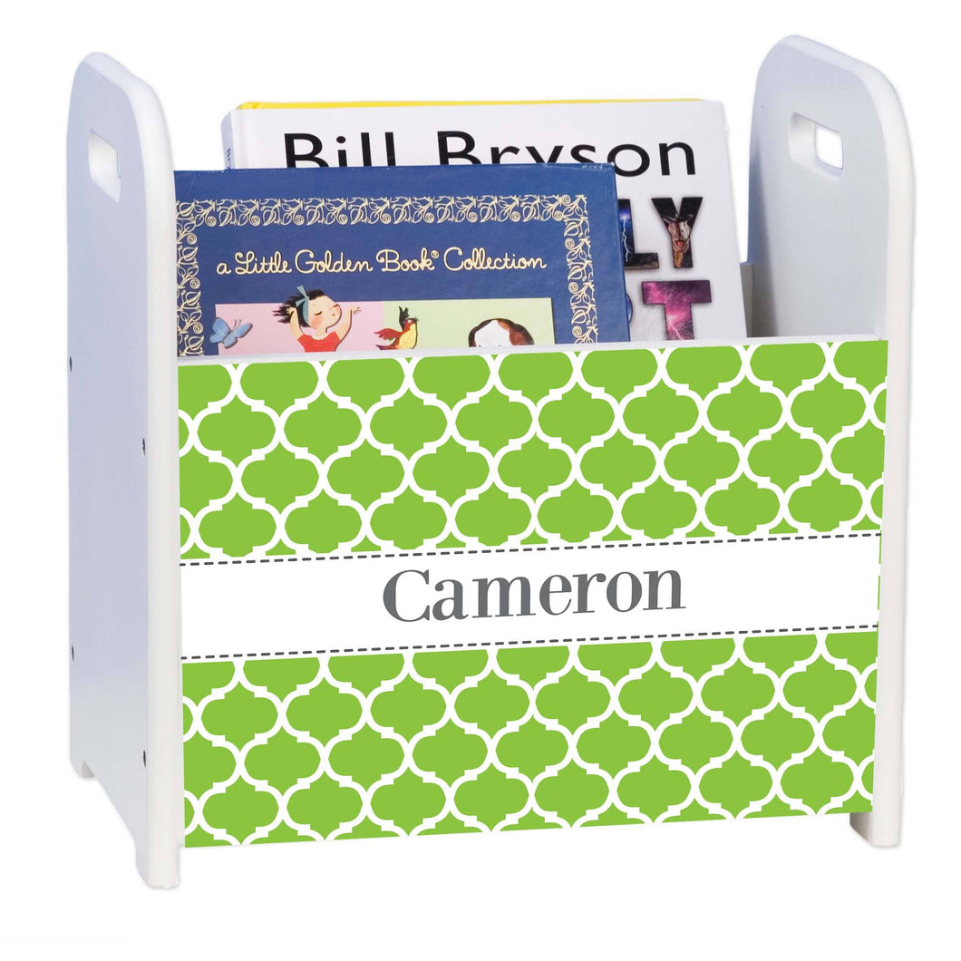 Personalized Morrocan Lime Chevron Design Book Caddy And Holder
