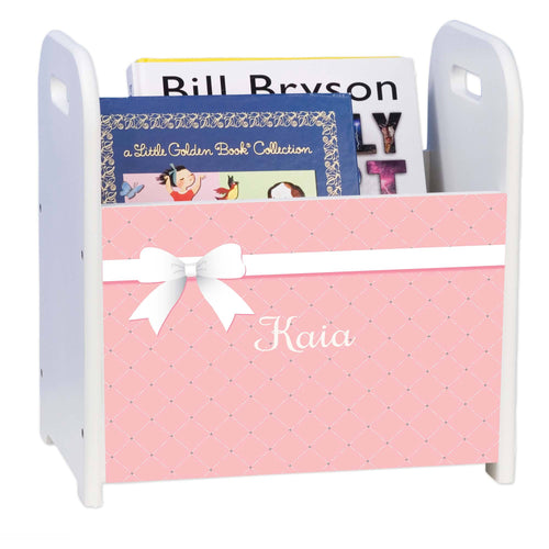 Personalized Pink Bow Design Book Caddy And Holder