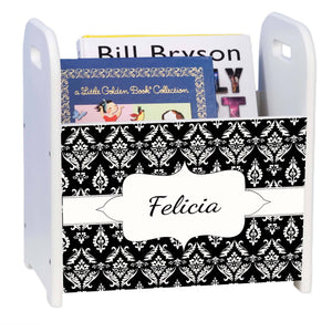 Personalized Black Damask Design Book Caddy And Holder