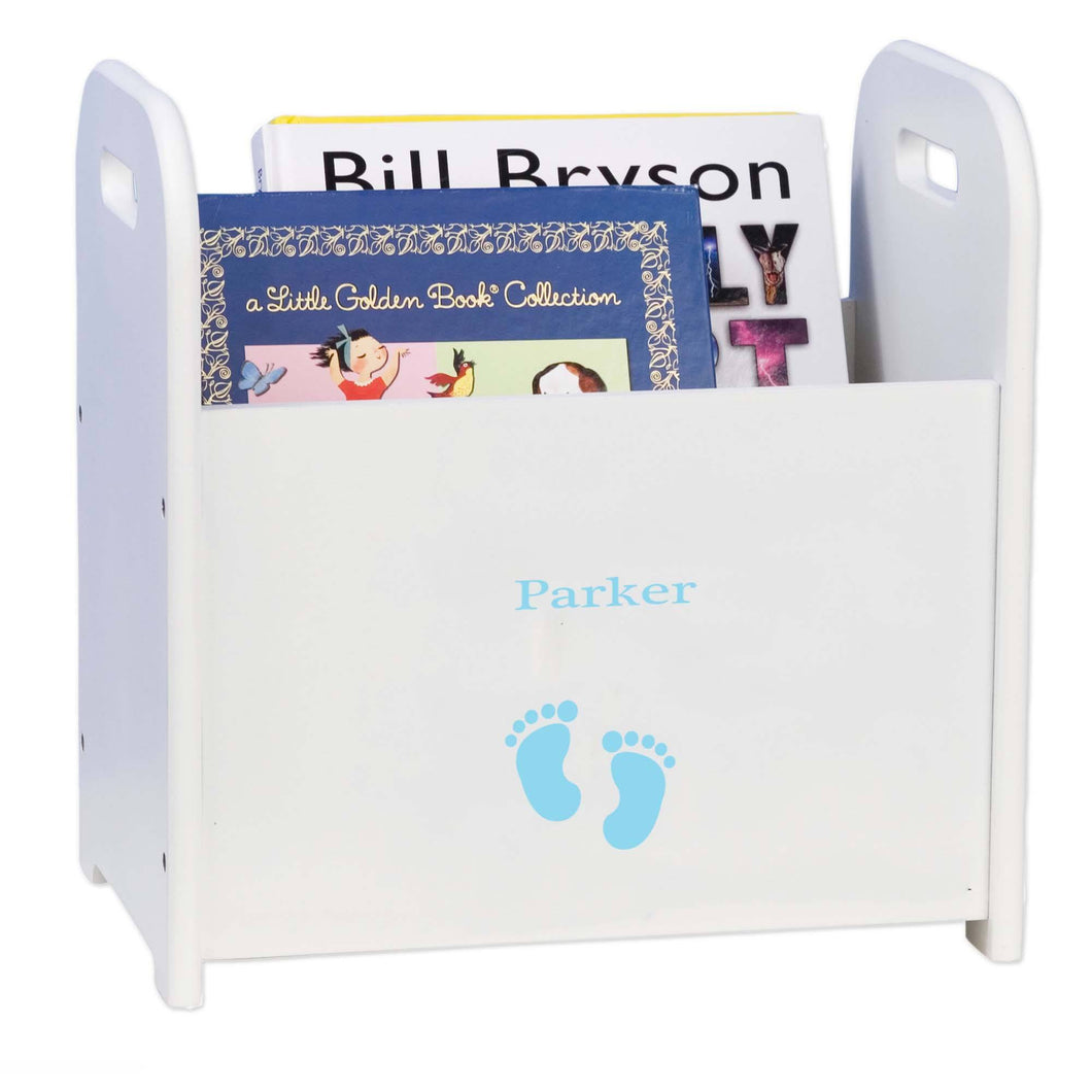 Personalized Single Footprints Blue Design Book Caddy And Holder