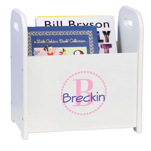 Personalized Pink Circle-Ll Design Book Caddy And Holder