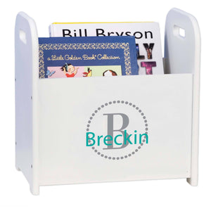 Personalized Dark Gray Circle Design Book Caddy And Holder