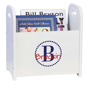 Personalized Navy Circle-Ll Design Book Caddy And Holder