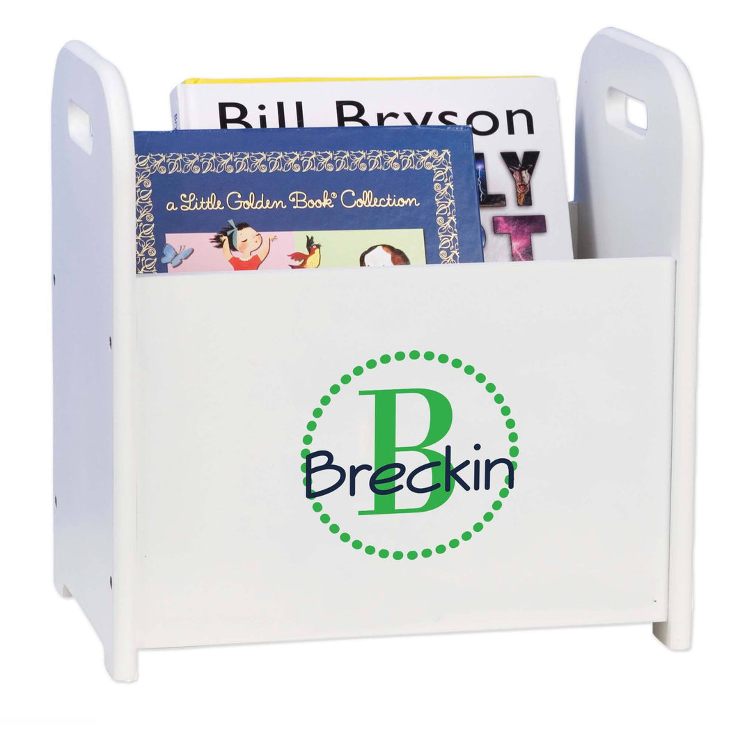 Personalized Green Circle-Ll Design Book Caddy And Holder