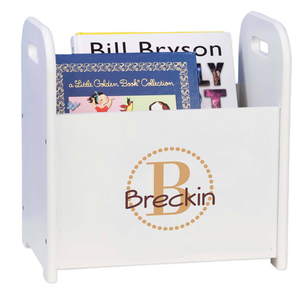 Personalized Brown Circle-Ll Design Book Caddy And Holder