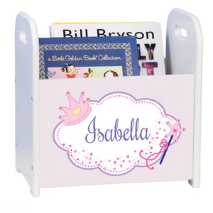 Personalized Fairy Princess Pattern White Book Caddy And Rack