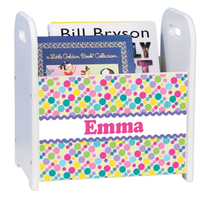 Personalized Bubble Gum Polka Dots White Book Caddy And Rack