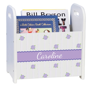 Personalized Lilac Posie Pattern White Book Caddy And Rack