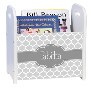 Personalized Moroccan Grays White Book Caddy And Rack