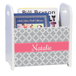 Personalized Tile Gray With Salmon White Book Caddy And Rack
