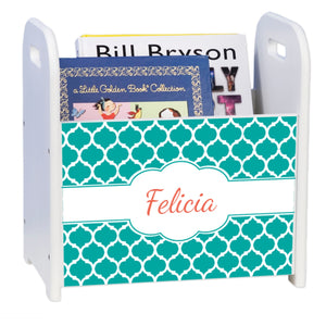Personalized Moroccan Teal White Book Caddy And Rack