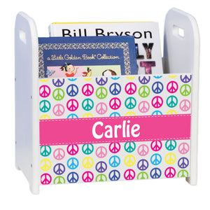 Personalized Peace White Book Caddy And Rack