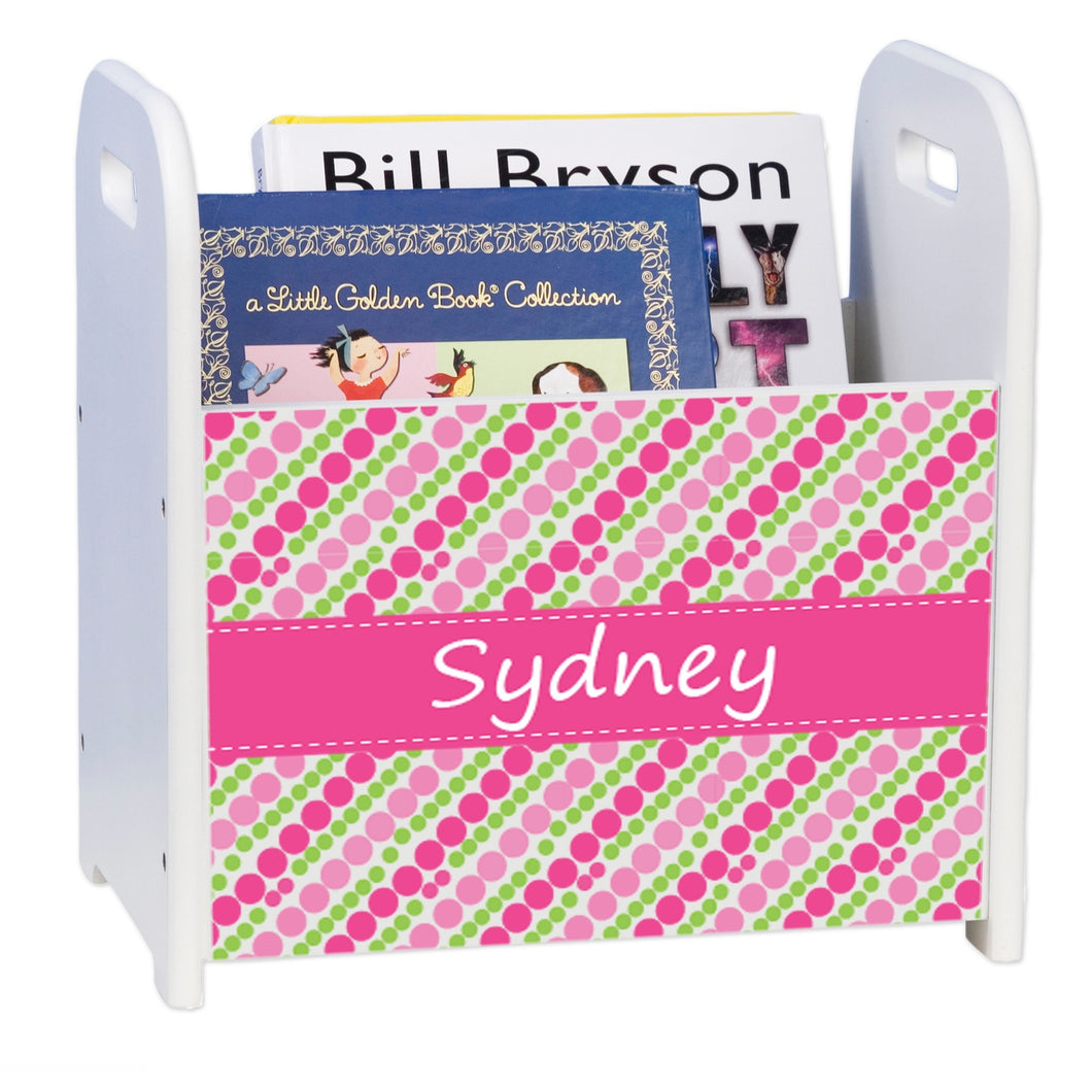 Personalized Pink And Green Polka White Book Caddy And Rack