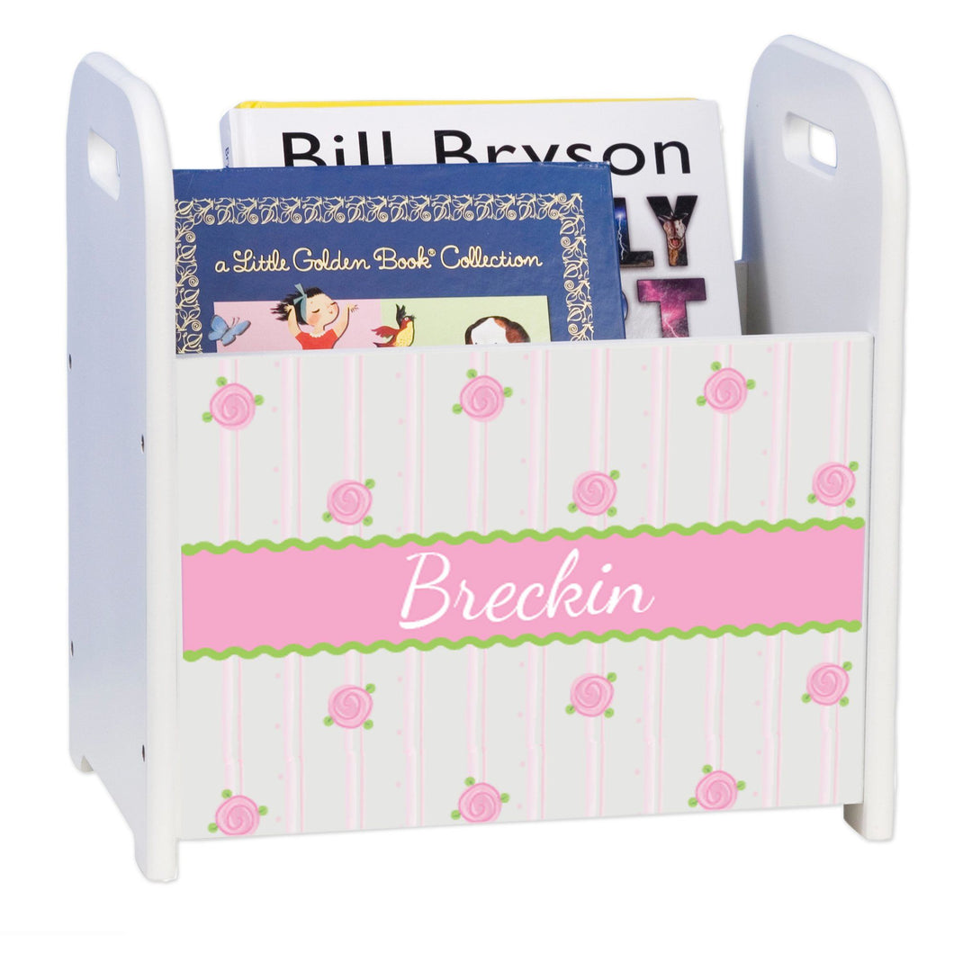 Personalized Rosie Posie White Book Caddy And Rack