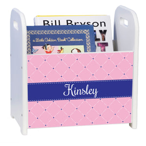 Personalized Quilting Pink With Navy White Book Caddy And Rack