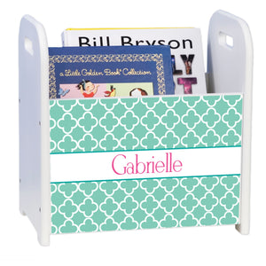 Personalized Tiles Aqua White Book Caddy And Rack