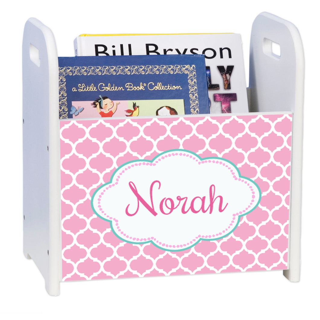Personalized Moroccan Pink White Book Caddy And Rack