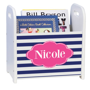 Personalized Blue Stripes W Hot White Book Caddy And Rack