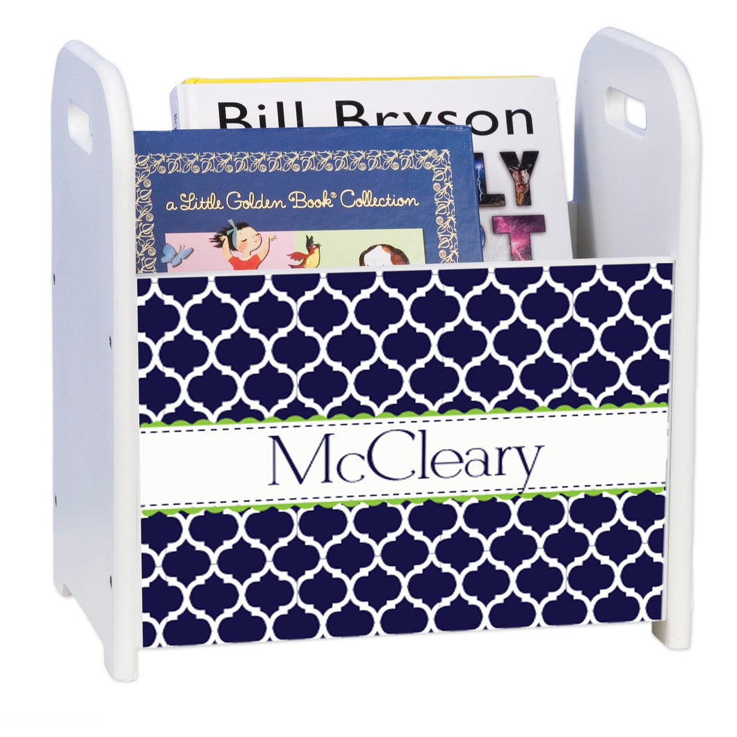 Personalized Navy Moroccan Lime White Book Caddy And Rack